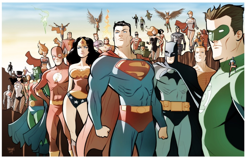 Animated-style Justice League