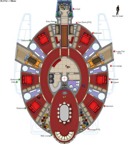 Interior of Starwind-class pleasure yacht